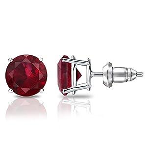 14k White Gold 4-Prong Basket Round Ruby Gemstone Stud Earrings (2 cttw)