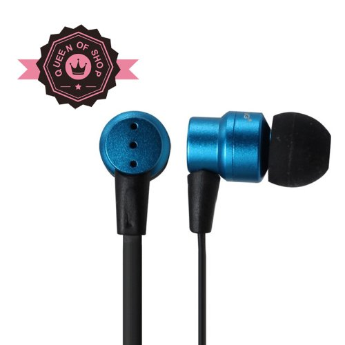 Queen I610 Blue Handsfree Soft Gel Earbud With Microphone Metal Ceramic Shell All Compatible Brand Headset
