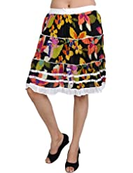 Exotic India Multi-Color Short Skirt With Floral Print - Multi-Coloured