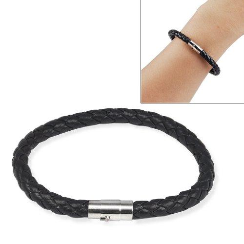 SODIAL (R) 6 millimetri uomo braccialetto Bracciale del cuoio genuino intrecciato fibbia in acciaio inossidabile colori-nero