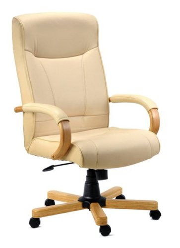 KNIGHTSBRIDGE Cream Leather Office Chair (Leather-faced) Oak Arms and Base