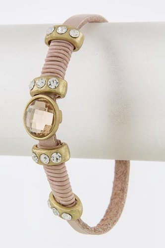 Baubles & Co Round Faceted Stone Accent Bracelet (Baby Pink)