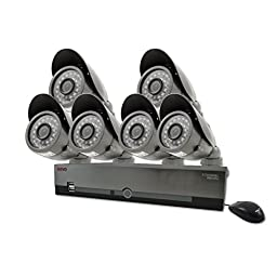 REVO America R84B6E-1T 8-Channel 1TB DVR Surveillance System with 6 600TVL 80-Feet Night Vision Camera (Gray)