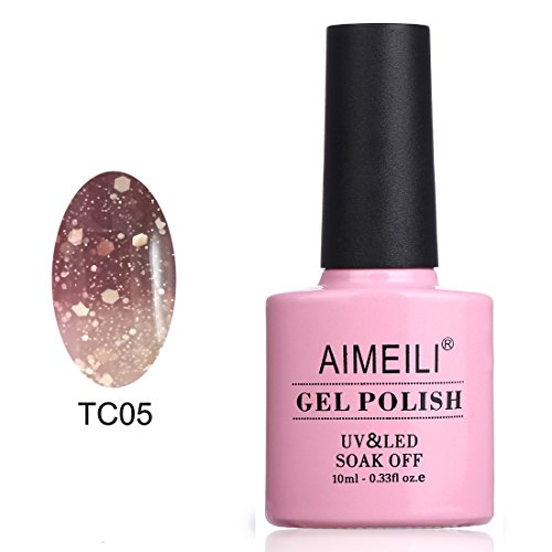 AIMEILI Soak Off UV LED Temperature Color Changing Chameleon Gel Nail Polish - Chocolate Spark (TC05) 10ml (Color Changing Nail Polish Uv compare prices)