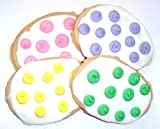 Scott's Cakes White Iced Easter Egg Sugar Cookies with Mixed Color Polka-Dots in a White Bakery Box