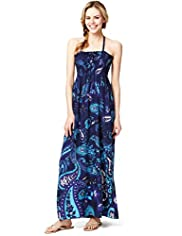 Halterneck Paisley Print Maxi Dress