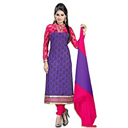 Fabfirki Blue and Pink Unstitched Cotton Salwar Suit