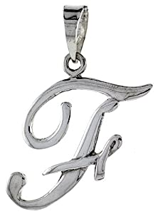 Sterling Silver Script Initial Letter F Alphabet Pendant Flawless Polish, 1 1/2 inch long