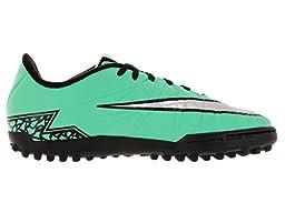 Nike Kids Jr Hypervenom Phelon II Tf Grn Glw/Mtllc Slvr/Hypr Orng/B Turf Soccer Shoe 3 Kids US
