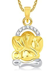 Ganpati God Pendant With Chain Lockets For Men And Women Gold Plated In American Diamond Cz GP319