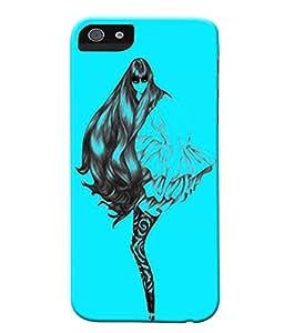 Fuson Blue Girl Back Case Cover for APPLE IPHONE 5C - D3812