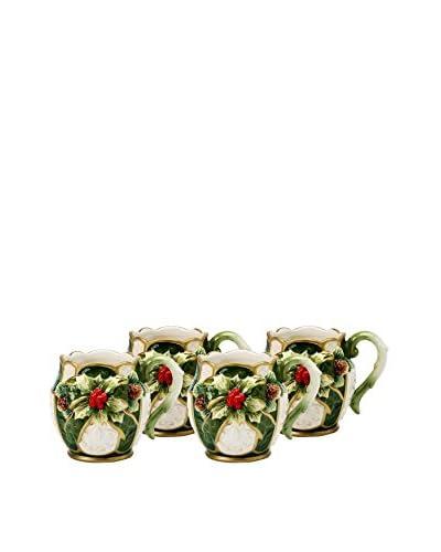 Cosmos Set of 4 Emerald Holiday Holly 14-Oz. Mugs