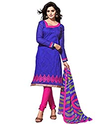 FadAttire Embroidered Chanderi Regular Dress Material-Blue-FADC07