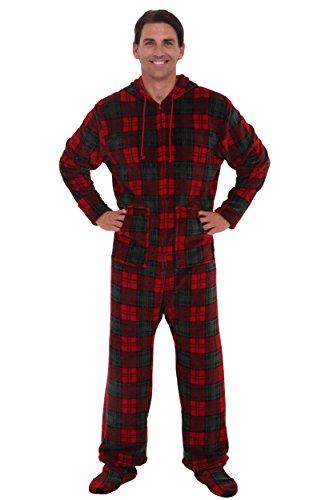 Alexander del rossa mens fleece onesie hooded footed for Mens dress shirt onesie