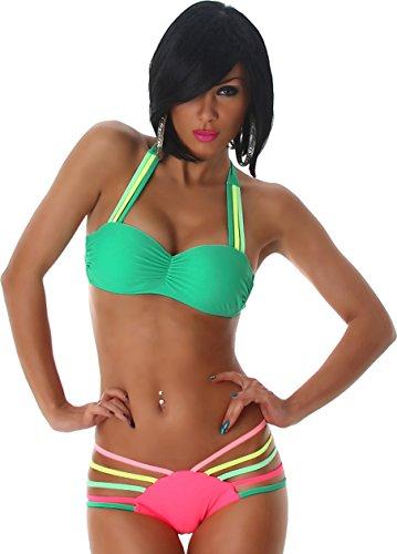 Donne Bikini Push-Up Halter ritaglio slittamento Top arricciato Triangolo Neon Trendy Verde Scuro-Rosa 44/46