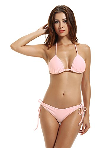ZERACA Women's Tie Side Bottom Triangle Bikini Bathing Suits (M10,