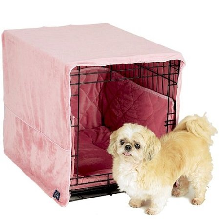 "Plush Cratewear 3 Piece Dog Bedding Set Color: Pink, Size: Small: 18"" W X 24"" D front-958396"
