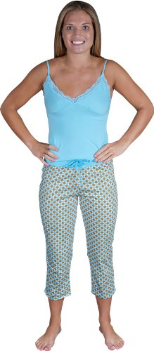 Womens Cotton Lace camisole and capri loungewear/PJ/pajama set , Argyle, BlueBrown S