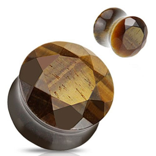 Pair (2) Of 1/2 Inch 12Mm Tiger Eye Semi Precious Stone Faceted Gem Cut Double Flare Ear Plugs
