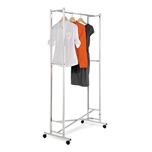 Honey-Can-Do GAR-01268 Deluxe Collapsible Garment Rack on locking Casters, Chrome Finish (Foldable Garment Rack compare prices)