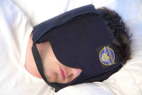 Dreamcatcher Quiet Sleep Mask Pillow - Patented, Ingenious, With Sound Block Foam, Secret Pockets, Chin Strap, Free Soft Earplugs, String-Tie Storage Bag