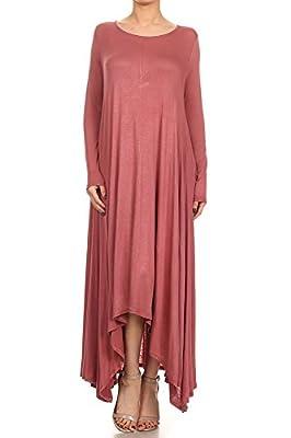12 Ami Solid Long Sleeve Pocket Loose Maxi Dress - Made in USA