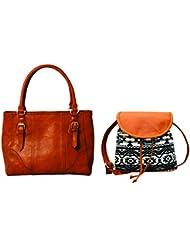 Kleio Combo Of Monochrome Handbag & Printed Casual Sling Bag