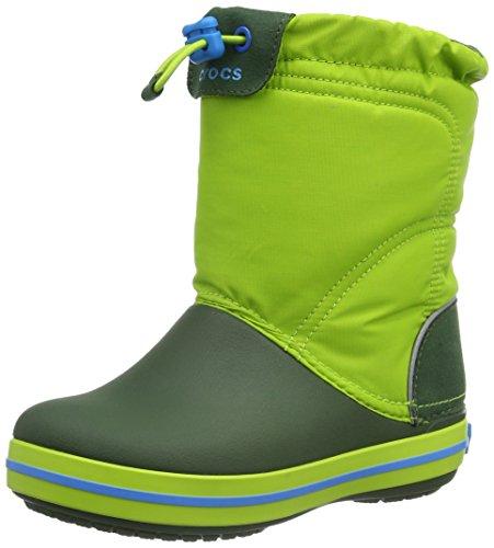Crocs Cbndlodgeptbtk, Sneaker a Collo Alto Unisex - Bambini, Verde (Lime/Forest), 33-34 EU