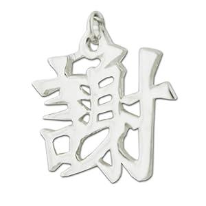 "Sterling Silver ""Gratitude"" Kanji Chinese Symbol Charm"