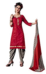 Ethnic For You Chanderi Unstitched Salwar Suit Dress Materials(Red)