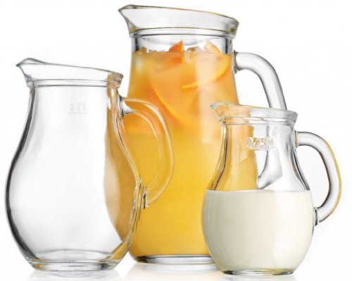 Durable Clear Glass 3-piece Pitcher Set ~ 0.50-L /0.25-L /1-liter Jugs with Handle Party Set (Small Pitcher With Spout compare prices)