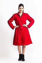 Fbbic Women's Long Coat (15016_Medium_Red)