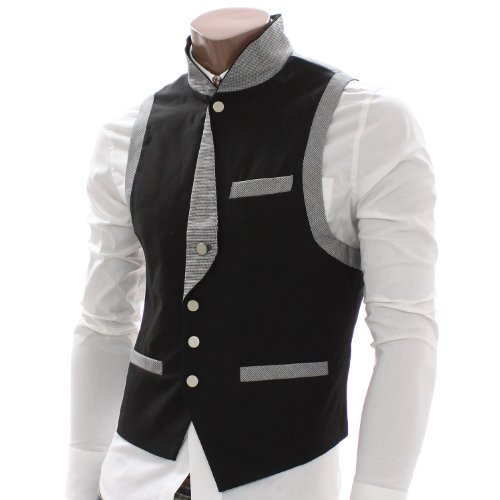Doublju Mens Check Patched Button up Vest Waistcoats (AV6)