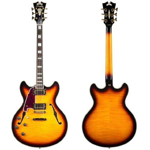 D'Angelico Exdcsp05 Semi-Hollow-Body Electric Guitar, Left Handed, Vintage Sunburst