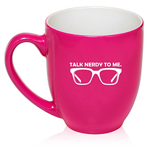 16 Oz Hot Pink Large Bistro Mug Ceramic Coffee Tea Glass Cup Talk Nerdy To Me