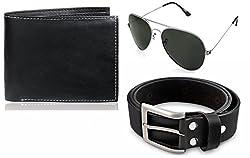 Rico Sordi leather wallet with sunglass & Belt(design-14) (Black) - RSM_49_48_WSGB