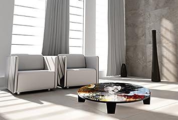 """TAF DECOR """"Sound Diva"""" Art Coffee Table, 35"""" X 35"""" X 7.5"""", Multicolored"""