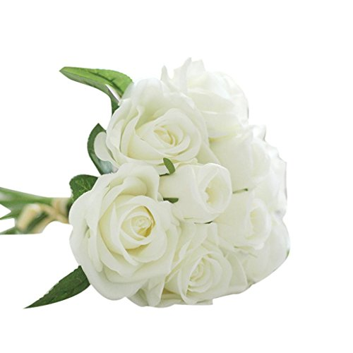 Wensltd 9pcs Artificial Silk Real Touch Rose Flowers For wedding And Home Design Bouquet (White)