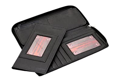 Ladies Paul & Taylor Zip Around Wallet Removable Checkbook Cover Black