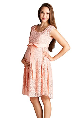 5c2c8770cda Hello Miz Maternity Floral Lace Baby Shower Party Cocktail Dress with Ribbon  Waist