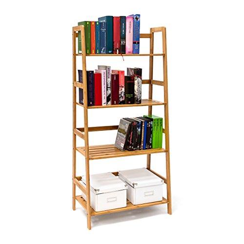 Relaxdays -Scaffale libreria in bambu' con 4 ripiani & le seguenti misure: H x B x T: 120 x 57 x 31 cm, adatto anche per DVD, CD e molto altro ancora
