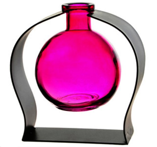 Colorful Decorative Tabletop Glass Ball Rooting or Bud Vase w/Gift Box ~ Fuchsia G118 Colored Floral Glass Vase with Contemporary Black Metal Stand