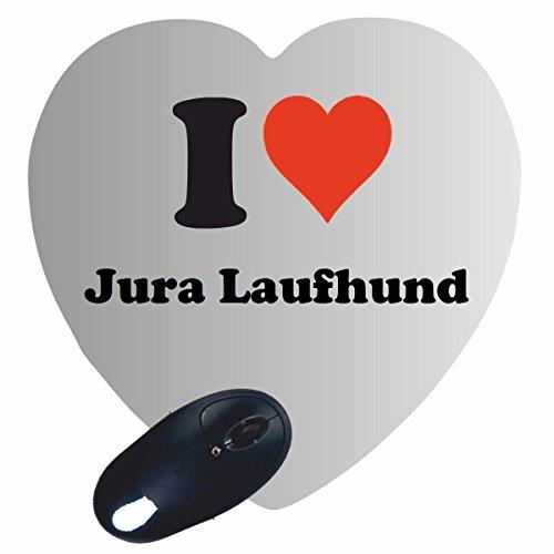 """EXKLUSIV: Herz Mousepad """"I Love Jura Laufhund"""" in Weiss, eine tolle Geschenkidee für deinen Partner, Arbeitskollegen und viele mehr! -Mauspad, Handauflage, Rutschfest, Gamer/ Gaming, Pad, Windows, Mac, IOS, Funartikel, Spass, Computer, Laptop, Notebook, PC, Tablet-PC, Büro."""