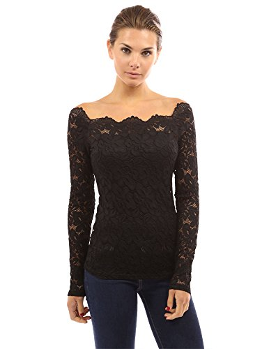 PattyBoutik Women's Floral Lace Off Shoulder Top (Black M) (Tops With Lace compare prices)