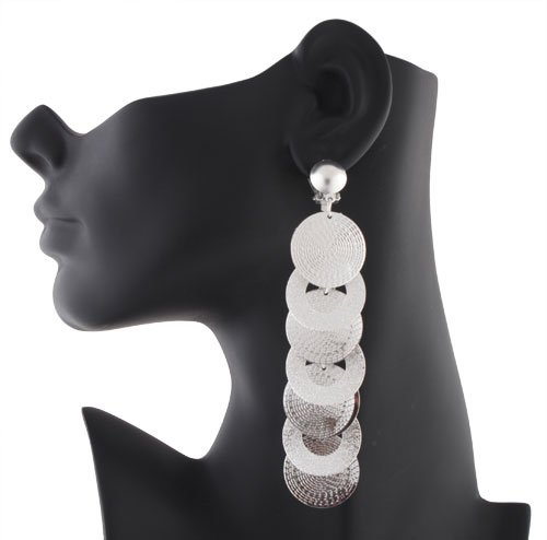 Ladies Silver Discs Ladder Style Clip on Earrings