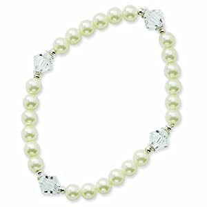 Silver-tone Glass Pearl and Crystal Beads Stretch Bracelet