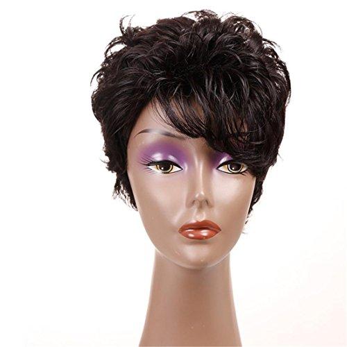 Meylee Parrucche Parrucche capelli ricci corti per donna nera ondulati Parrucche marrone traspirante Rose Net con cappuccio parrucca gratis e pettine