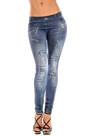 New Stylish Denim Look Ripped Faux Jean Blue Leggings Tights Pants (FG9072BE)