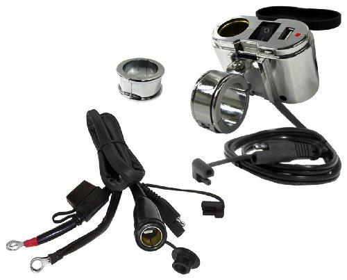 EKLIPES EK1-110 Cobra Sistema di Ricarica Massima USB per Moto, Cromo