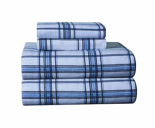 Pointehaven Heavy Weight Printed Flannel Extra Long Sheet Set, Plaid, Blue front-12240